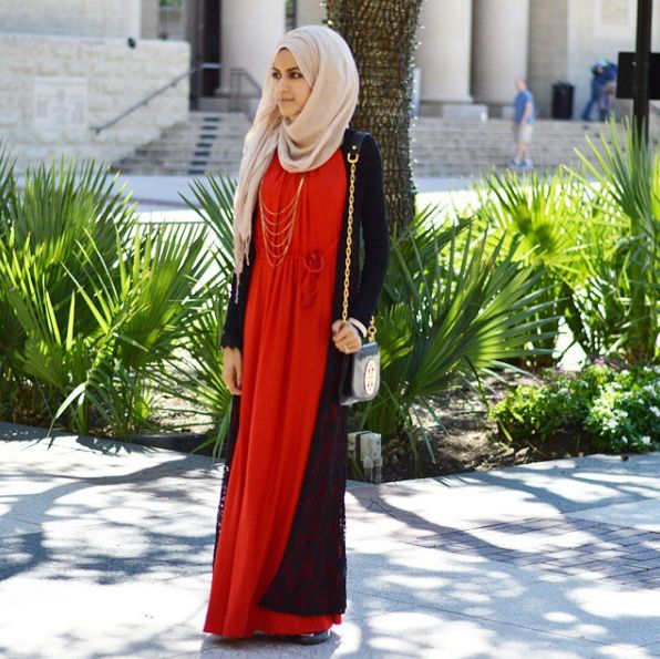 Modest Red Maxi Dress