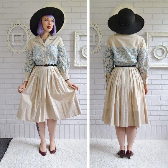 Vintage 1950s Tan and Blue Cutout Lace Dress