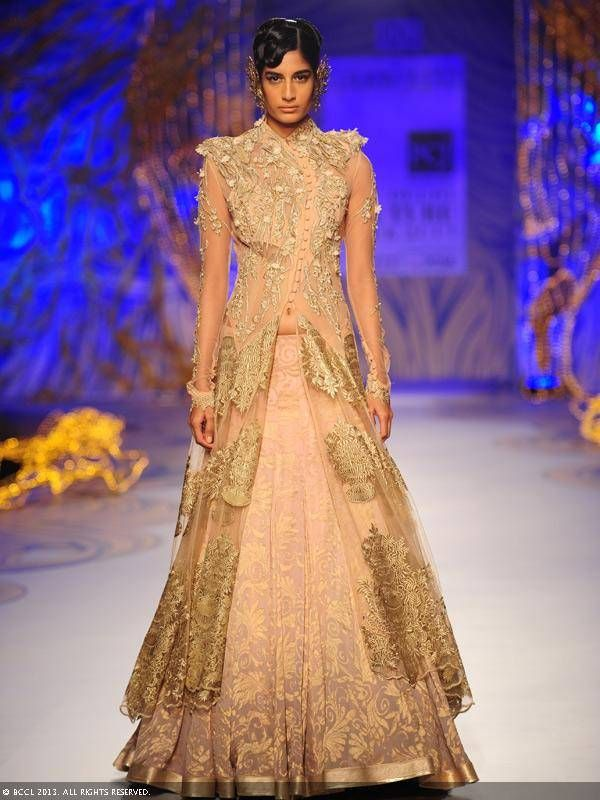 Gold and cream lengha by Gaurav Gupta at Delhi Couture Week 2013