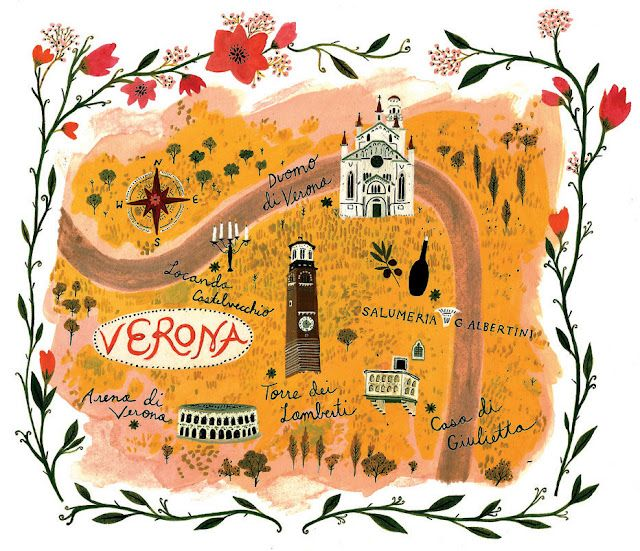 An illustrated map of Verona for Jamie Oliver Magazineby Becca Stadtlander