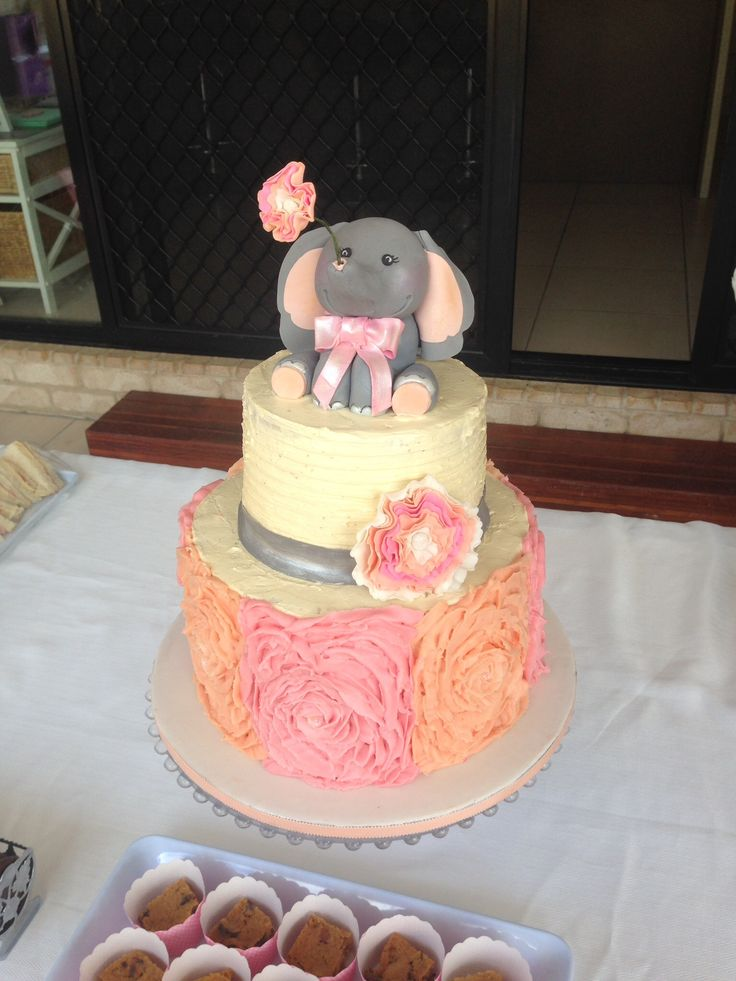 Elephant Baby Shower Cake Buttercream Icing Flowers
