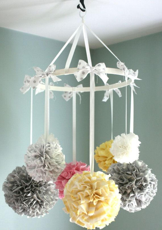 baby mobile nursery mobile crib mobile hanging pom poms nursery decor pom pom mobile baby. Black Bedroom Furniture Sets. Home Design Ideas