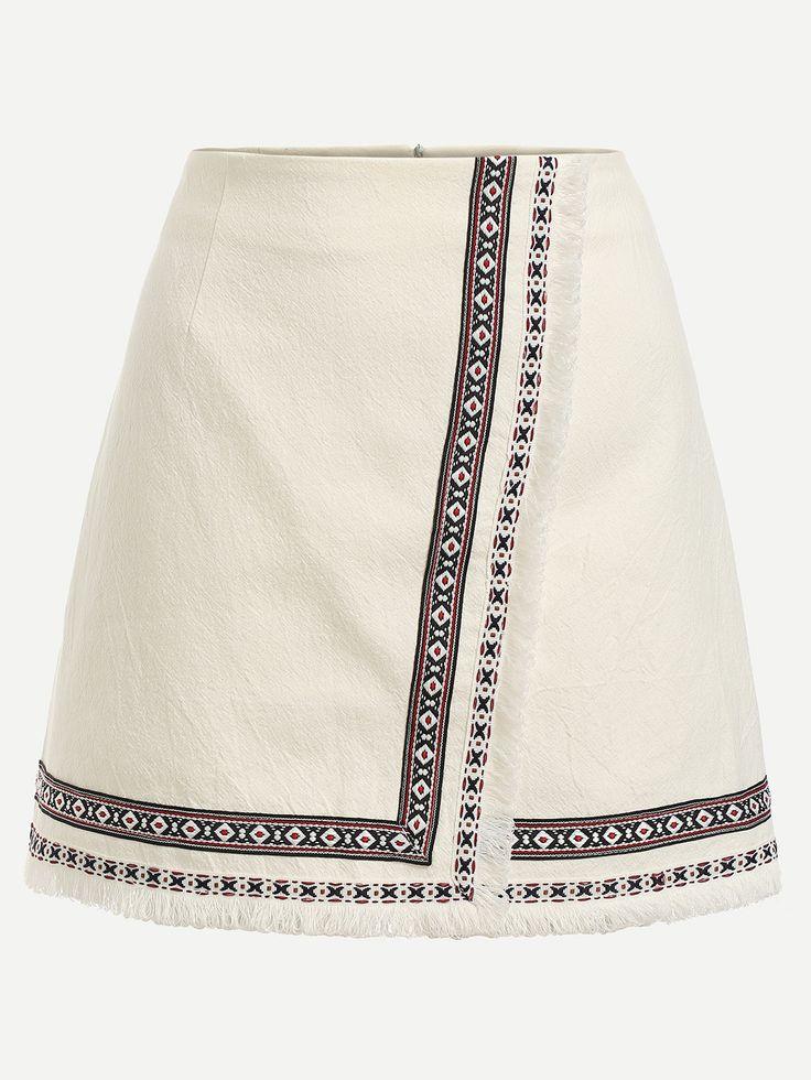 Falda bordada cinta adornada cruzado-(Sheinside)