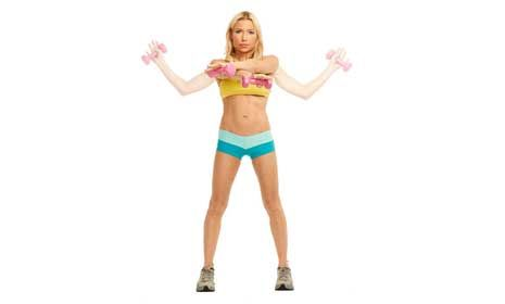 Cheerleader (back, chest, TRICEPS, biceps):  Feet shoulder-width, a dumbbell in each hand, arms by sides. Punch arms diagonally forward, crisscrossing L arm above R arm, palms down. Pull weights back, bending elbows out to sides & rotating forearms to form a wide W, then extend arms diagonally overhead, palms forward (arms form a V). Lower arms back to W position, then reverse motion back to crisscross punch, this time with R arm above L arm. Do 30 reps in a continuous flow, alternating top…