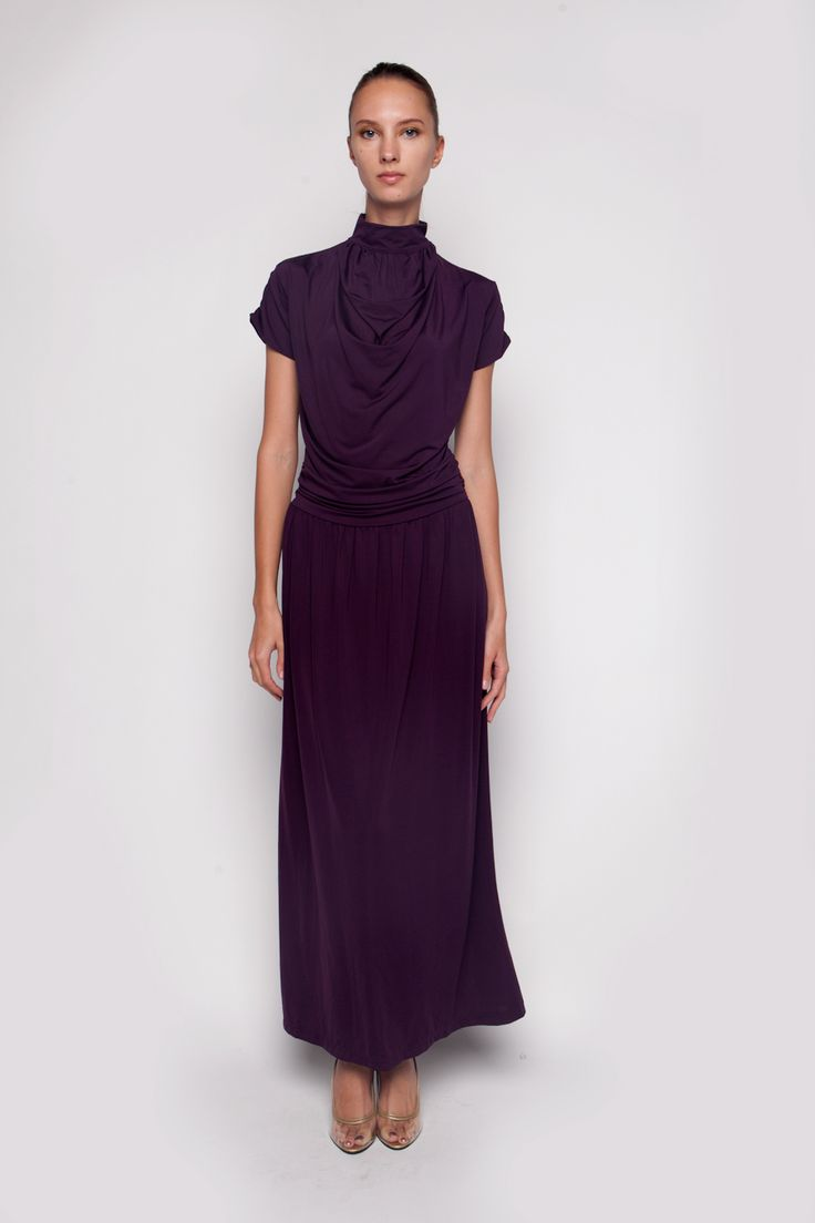 Turtle Neck Maxi Dress Purple