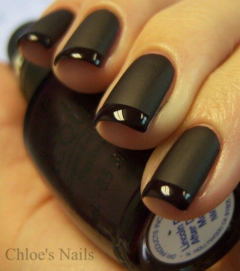 Matte black nails with glossy black tips