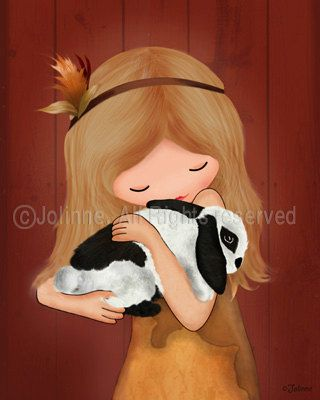 I just love this. Art print, children room decor, baby nursery art, girl and bunny rabbit, emotional wall art,