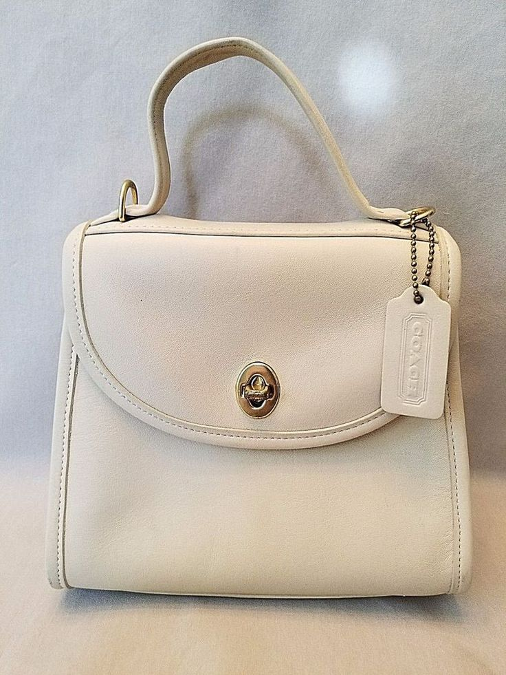 Coach Vintage Leather Top Handle Mini Station Cream M60-9985 Bag Purse Tote  S/