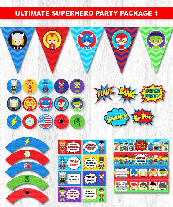 Superhero Party Printable Superhero Party Package by KidzParty