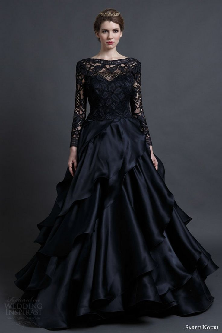 25 Glamorous Black Wedding Dresses: Sareh Nouri spring 2016 bridal mona lisa black wedding dress ball gown long sleeves