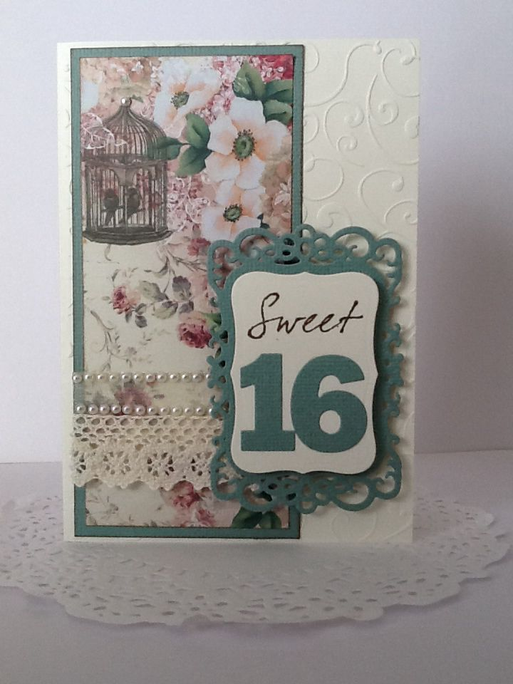Sweet 16 birthday card. Ivory and green with designer floral paper complete with vintage birdcage. Tulle, lace and pearl bling.