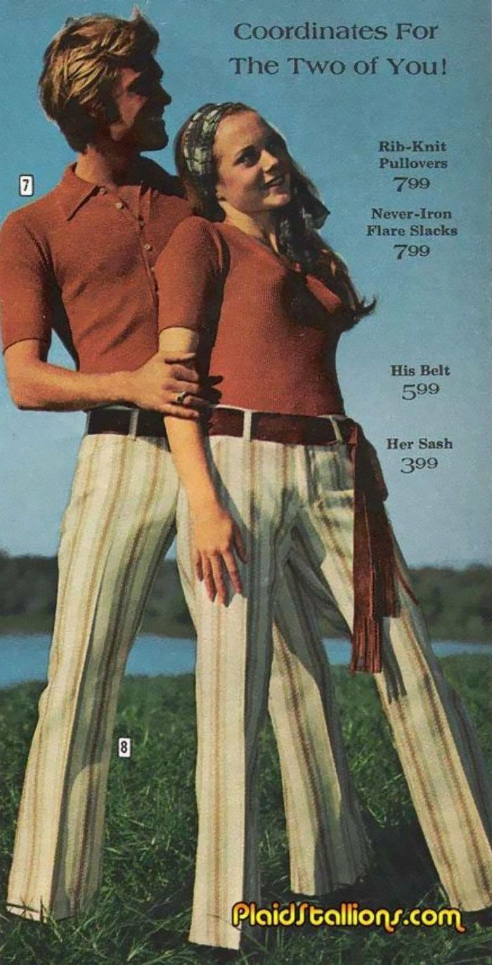 Matching His And Her Fashion 1970 Vintage Mens Fashion Matching Couple Outfits Vintage Men