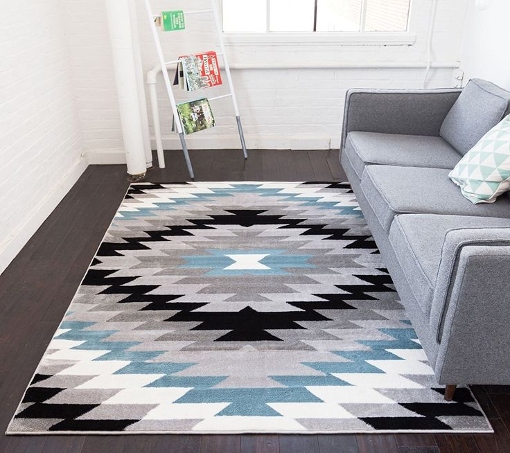 "Amazon.com: Dusky Mesa Grey & Blue Southwestern Modern Classic Geometric Medallion Area Rug 5 x 7 ( 5'3"" x 7'3"" ) Easy Clean Stain Fade Resistant Shed Free Contemporary Thick Soft Plush Living Dining Room: Kitchen & Dining"