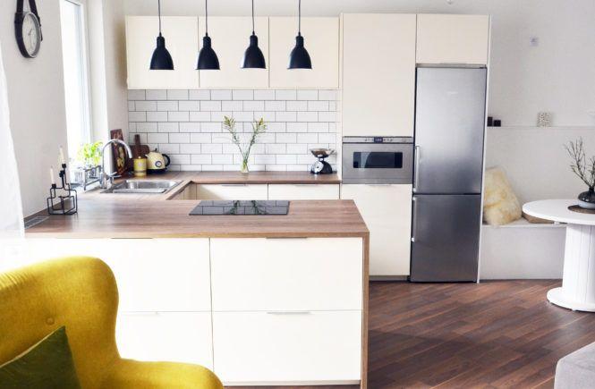 Welcome in my retro modern kitchen with scandinavian touch. #scandinavian #kitchen #mynordicroom #metrotiles #retromodern #yellowarmchair #whitekitchen #blackpendantlamp