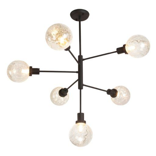 Axel Chandelier features Crackle glass or Clear glass with a Black finish. Six 40 watt, 120 volt Edison Tube type Medium base incandescent bulbs are included. ETL listed. 31 inch width x 34.5 inch height.