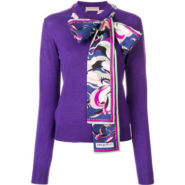 Emilio Pucci Scarf-detailed Sweater ($991) ❤ liked on Polyvore featuring tops, sweaters, slimming tops, purple sweater, long sleeve sweater, purple long sleeve top and slim fit sweaters