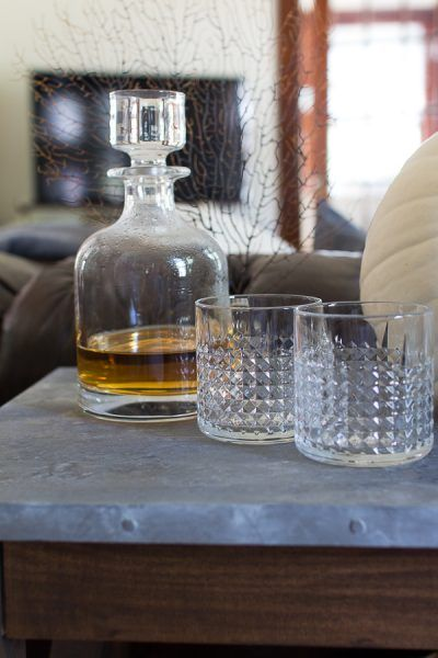 modern decanter and pretty cut glass for whiskey