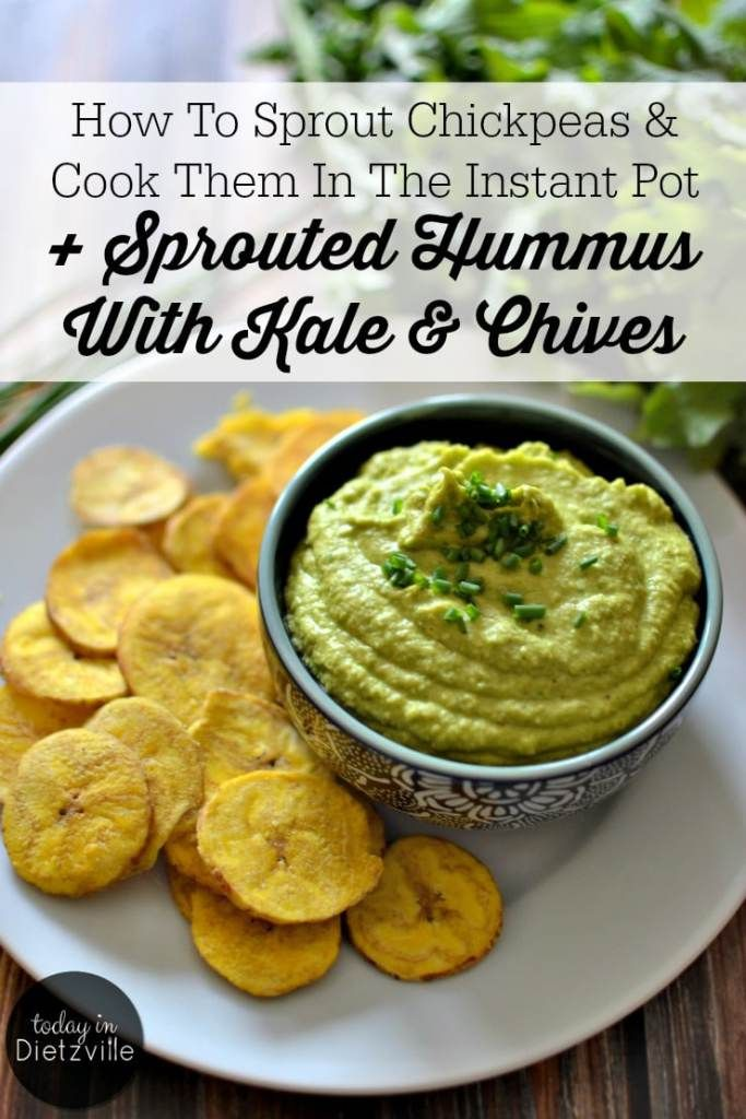 How To Sprout Chickpeas & Cook Them In The Instant Pot + Sprouted Hummus With Kale & Chives | To buy kale hummus at my health food store, I had to shell out $1 per ounce! Or, I could make it myself, at home. Sprouted chickpeas take this hummus up a notch and make it nourishing and super digestible. The addition of steamed kale and fresh chives gives this sprouted hummus a powerful punch of greens for the perfect appetizer or snack! | TodayInDietzville.com