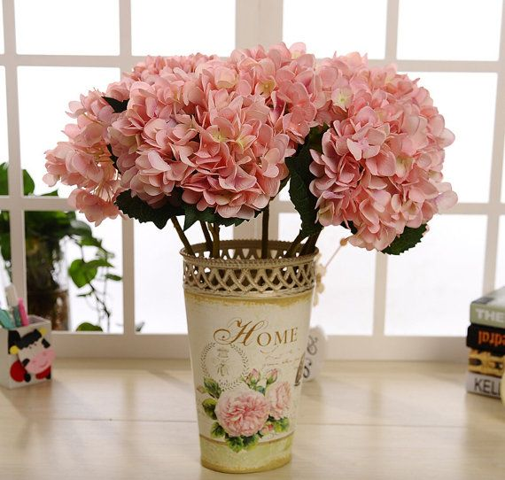 Light Pink Silk Hydrangea 10 Flowers Artificial Silk Hydrangea