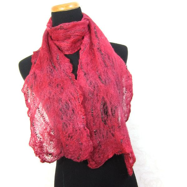 Cobweb Felt Scarf Wool Scarf Gift for Her Merlot Red Scarf Womens... (€49) ❤ liked on Polyvore featuring accessories and scarves