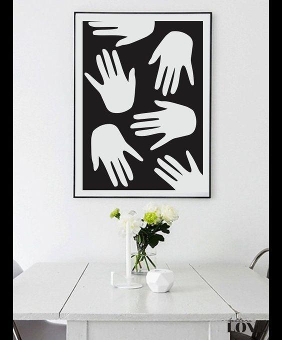 Decoratie hands print abstract hand print wall decor een uniek product van