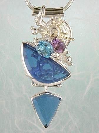 Konst Smycken, Hänge, Ringar, Örhängen, Armband, Halsband, Ametist, Blå topas