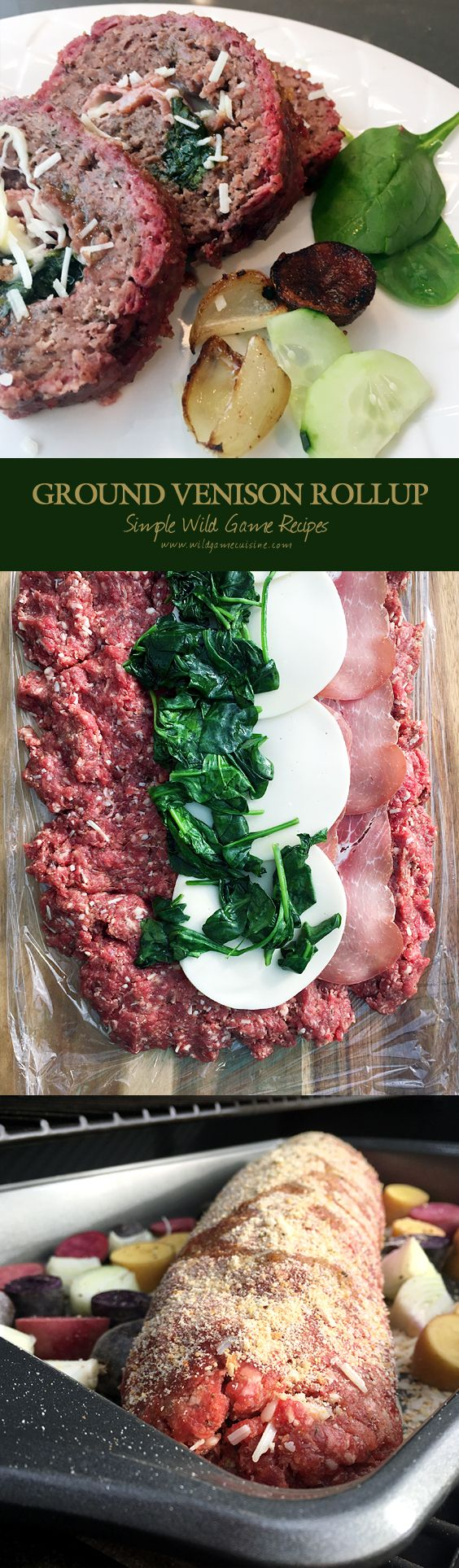 Ground Venison RollUp - If you're like me, you might find yourself constantly searching for New and Flavorful ways to utilize some of that ground game meat you have in the freezer. I know hamburgers, meatballs and tacos are some of the best of the best, but have you tried making a giant roll of ground meat stuffed with prosciutto, provolone and wilted spinach?  Think of it as a rolled up meatloaf filled with salty cured ham, cheese and a few greens. There's nothing wrong with that…