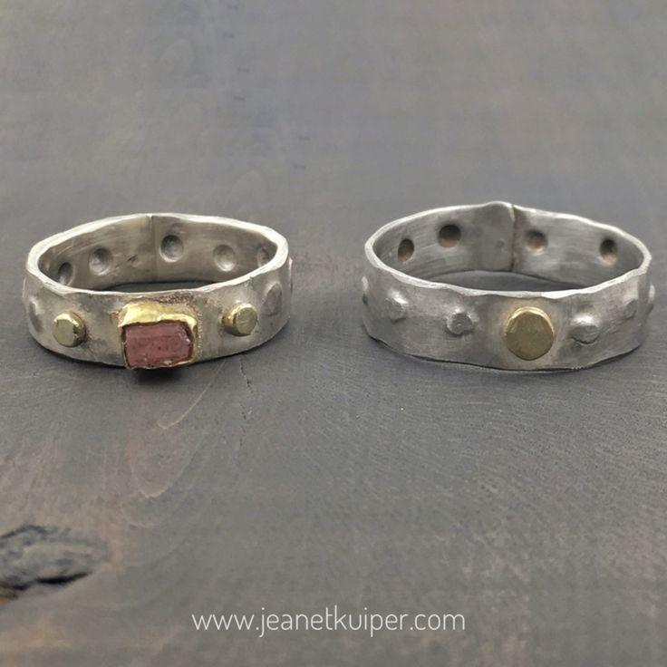 Zilver met ruwe toermalijn en gouden dots