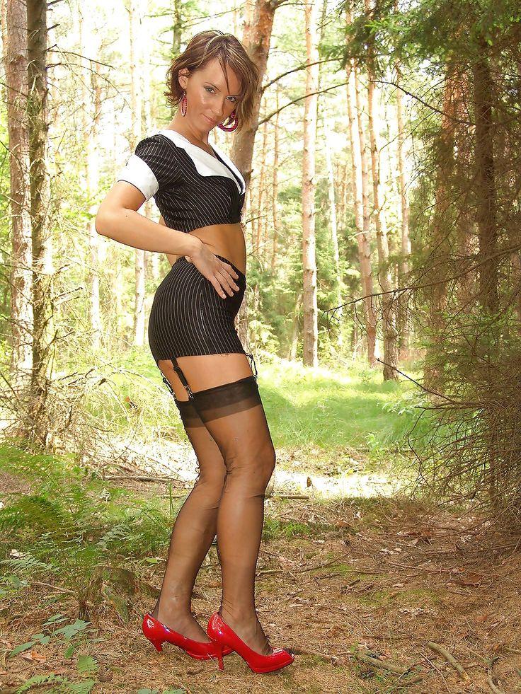 Kelly Dee Wearing Black Stockings In The Forest  Black -5842
