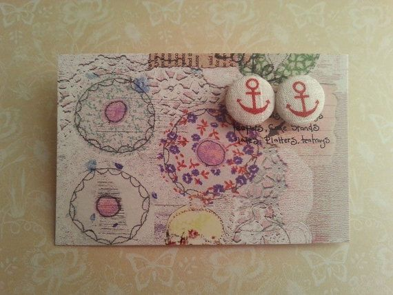 handmade white and red anchor covered button post by maxollieandme