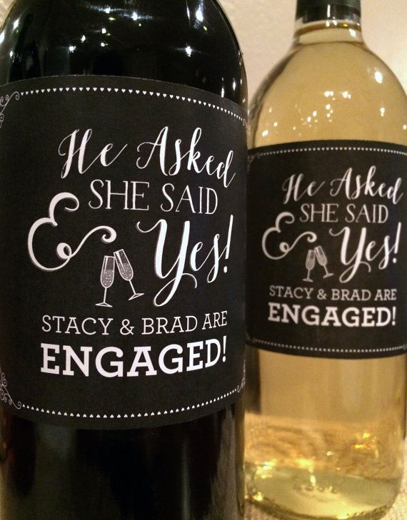 He Asked She Said Yes Engagement Label - Congratulations to Bride & Groom - Wedding Gift Engagement Party Favors or Engagement Gift - Custom