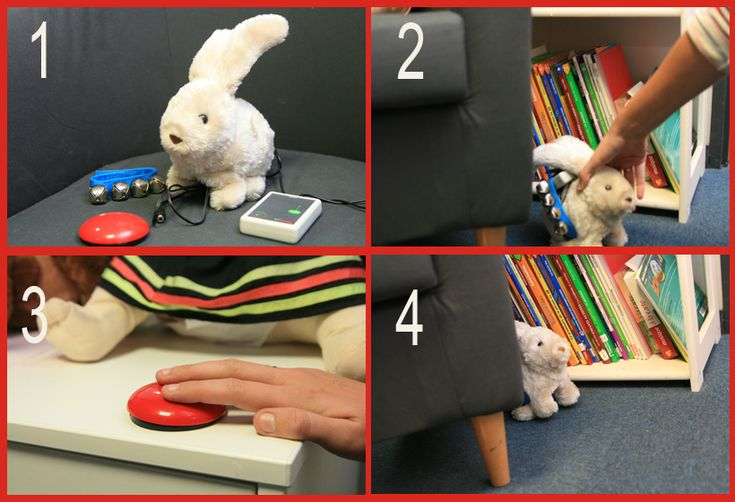 #QueFaireAvecUnContacteur #Polyhandicap Travailler le positionnement #spatial et la reconnaissance #auditive dans l'espace avec ce jeu de cache-cache sonore avec le lapin adaptable, le boitier sans-fil et le contacteur sans fil symplyworks.
