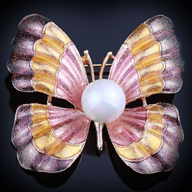 FARLEENA Jewelry shell simulated-pearl pearl painting color butterfly scarf pins fashion brooches for women