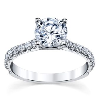 14K White Gold Diamond Engagement Ring Setting 1/2 Cttw. From Suns And Roses Collection