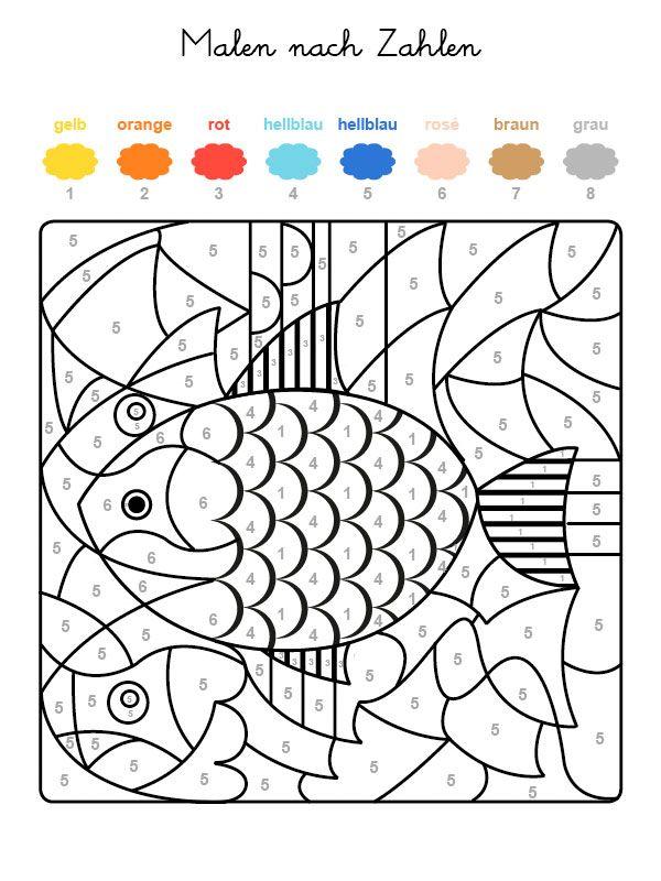 Wenn Ihr Kind das ganze Motiv auf der kostenlosen Malvorlage mit den Farben ausgemalt hat, die den Nummern zugeordnet sind, kommt ein Fisch zum Vorschein!