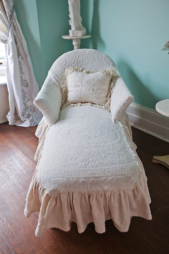 listing for shazmeen malik chaise lounge shabby chic ivory ruffle matelasse bedspread slipcover. Black Bedroom Furniture Sets. Home Design Ideas
