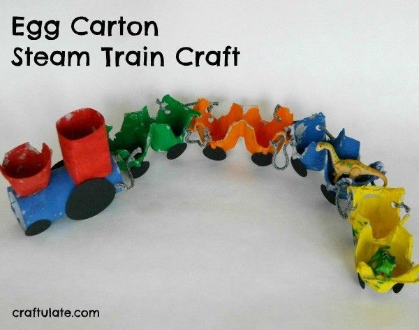 This egg carton steam train activity is a fun and frugalcraftfor kids to make!