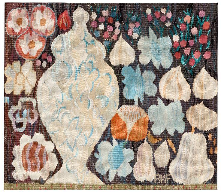 "TEXTILE. ""Kruka och Frukter"". Tapestry weave (gobelängteknik). Ca 50,5 x 57 cm. Signed AMF. (Ann-Mari Forsberg, born Lindbom, for Märta Måås-Fjetterst.... - Modern Autumn Sale, Stockholm 569 – Bukowskis"