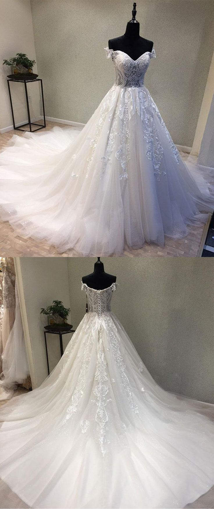 New design white lace tulle sweetheart neckline off shoulder sweep train wedding dress