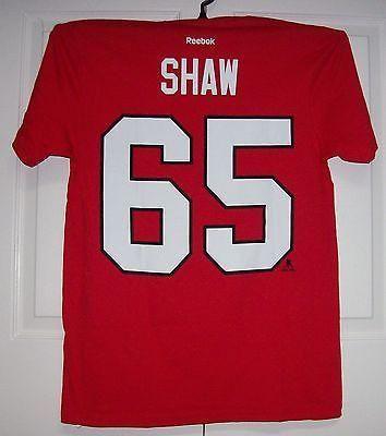 SHAW Chicago Blackhawks Reebok Player Name & Number T-Shirt Red