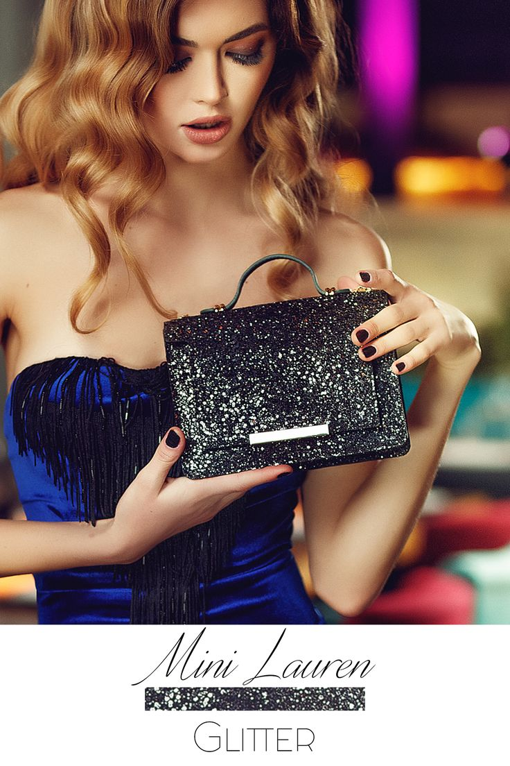 The black Mini Lauren Glitter shoulder bag is an exquisite accessory that can embellish your festive outfit @w