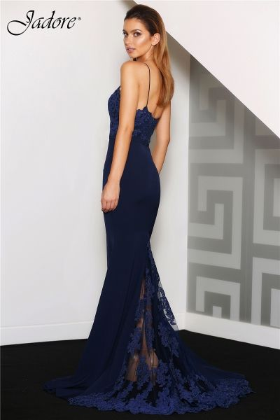 Style #JC8034 by Jadore Evening Dress Company. It features both Neoprene and beaded lace, a match made in fashion heaven.  Stunning as a bridal/destination bridal gown in Ivory, and a perfect Bridesmaid in Red, Navy and Orchid.   A great design for Bride, Destination Bride, Reception Dress, Bridesmaid, Prom, Homecoming, Pageant and Evening Gown. Available for Special Order in sizes 2-26. Visit our website to find out where you can order this great style. WWW.JADOREEVENING.CA