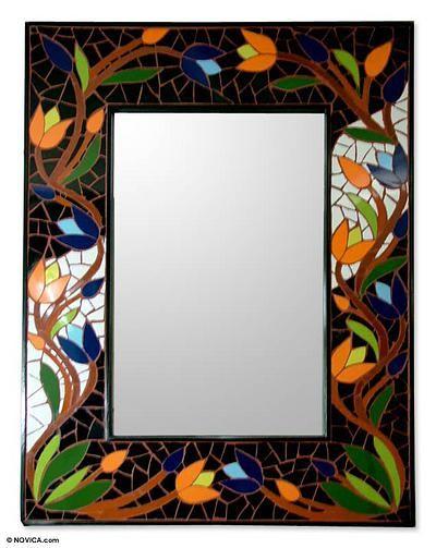 Hand Made Mosaic Ceramic Wall Mirror - Tantalizing Tulips | NOVICA