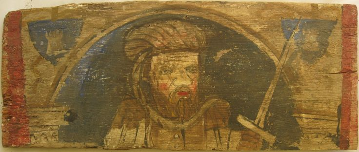 • TAVOLA XVI cm 44 x 18 x 2,5 MORO BLASONATO GUERRIERO Il retro della tavola presenta alcuni fori di tarlo, principalmente nei tagli obliqui, e porta tracce di insetti, mentre la pellicola pittorica, che è quasi integralmente coperta da una patina di sporco bruno rossiccio, è abbastanza solida anche se si evidenziano delle lacune. Figura di uomo con copricapo piumato o turbante con lembo pendente, con barba bionda, occhi chiari e volto segnato da rughe profonde sulla fronte e ai lati del…