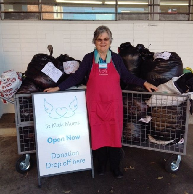Our volunteer Helen with two of the four trolleys worth of donations kindly collected for us by Ormond Primary School, the school her grandchildren go to. Thank you!