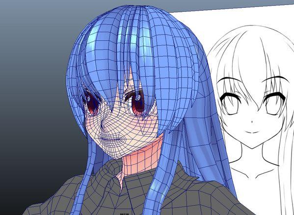 3d anime blue hair girl face and hair topology