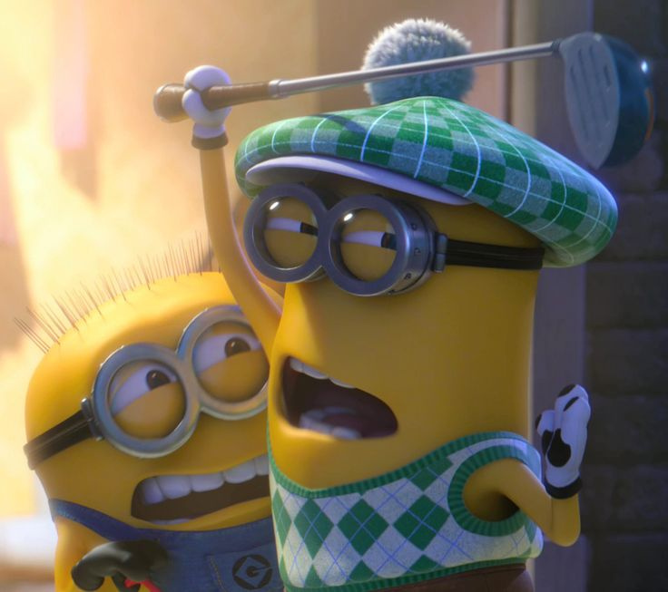 WARNING: JORGE IS THE BEST MINION EVER AND HE IS THE ONE COWERING IN THE BACK NOT THE ONE WITH THE GOLF CLUB IN THE FRONT
