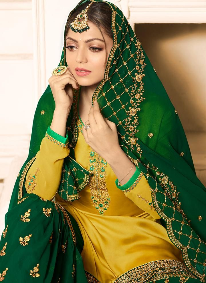 Yellow and Green Embroidered Gharara Suit in 2019
