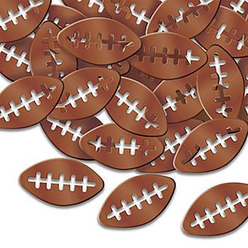 The Football Confetti has the look of tiny brown footballs with the center laces cutout.