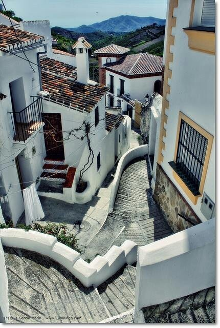 Zigzag steps in Sedella, Andalucia, Spain